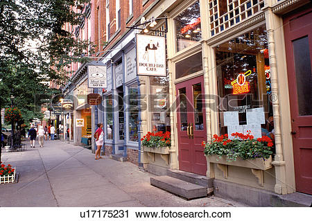 Stock Photography of Cooperstown, baseball, NY, New York, Shops.