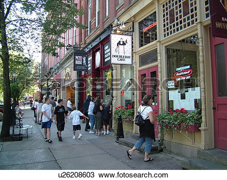 Stock Photo of Cooperstown, NY, New York, downtown, storefronts.