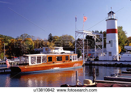 Stock Photo of Cooperstown, New York, NY, Classic Boat Tours on.