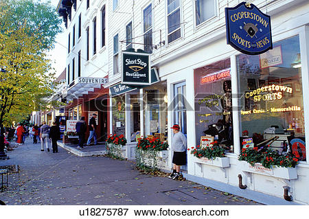 Picture of Cooperstown, New York, NY, Shops along Main Street in.