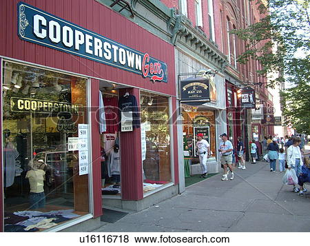 Pictures of Cooperstown, NY, New York, downtown, storefronts.