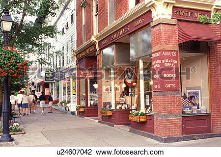 Stock Photo of Cooperstown, NY, New York, Shops along the main.