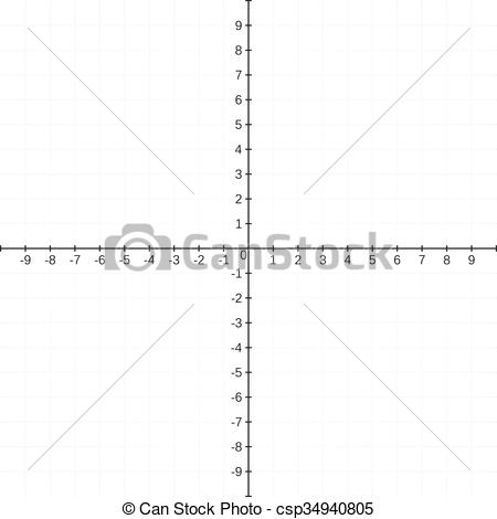 Vector Clipart of Cartesian coordinate system template, blank, no.
