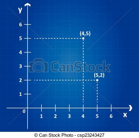Vector Illustration of Cartesian Coordinate System On Blueprint.