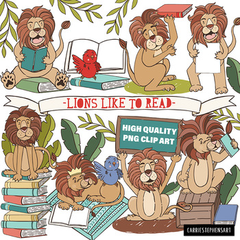 Lion Reading ClipArt Images.