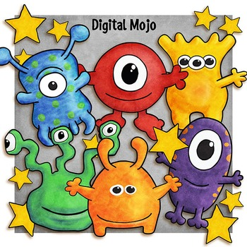 Aliens Clipart and Digital Paper.