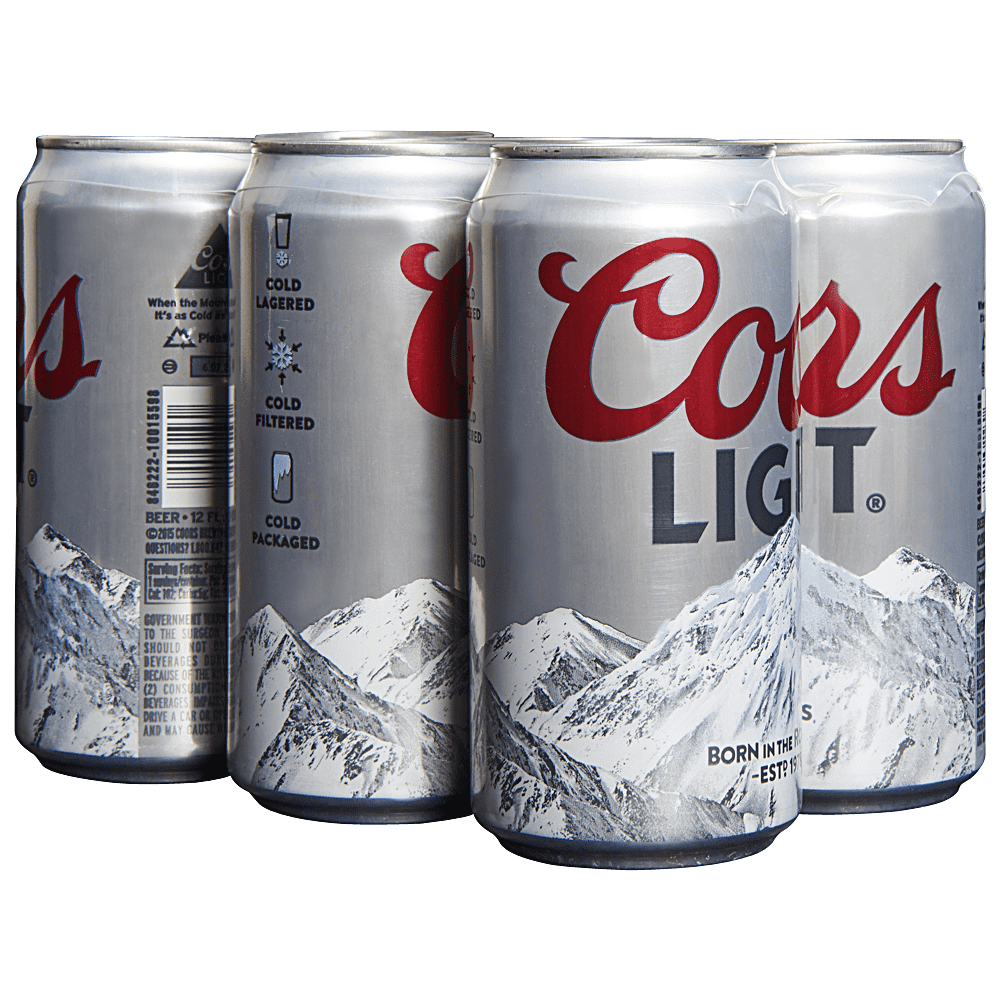 Coors Light, 6 Pack, 12 oz Can.