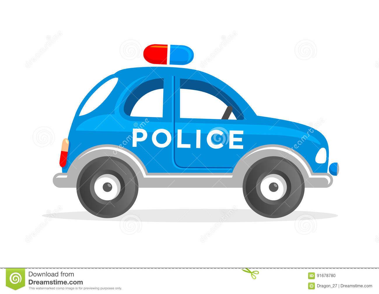 Cartoon Toy Police Car Vector Illustration. Stock Vector.