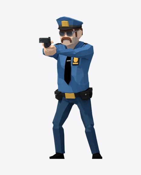 Download Low Poly Police Man Transparent PNG on Yellow Images 360°.