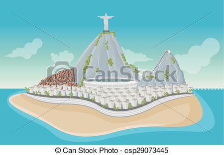EPS Vector of Copacabana beach, Rio de Janeiro, Brazil.