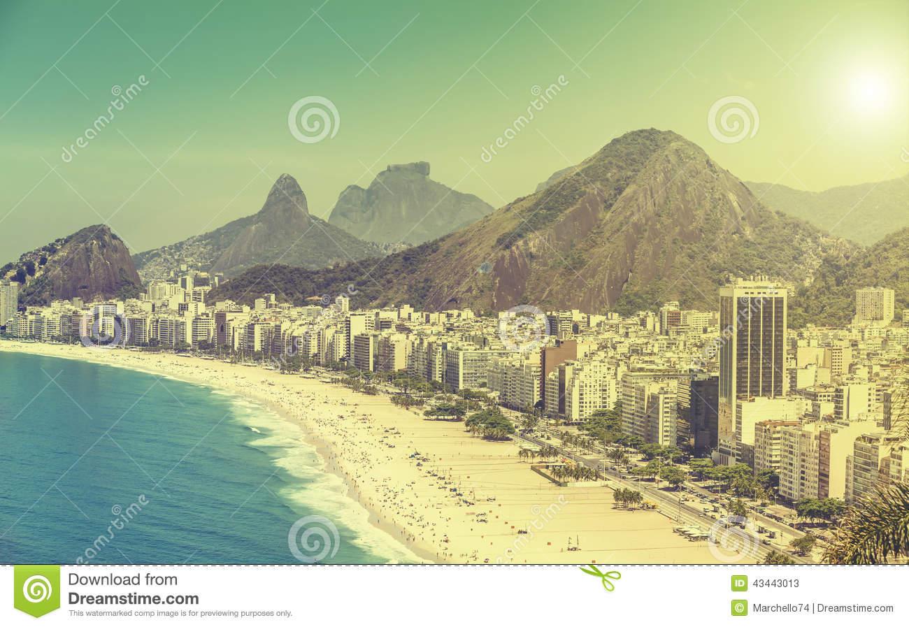 Copacabana Beach Vintage View In Rio De Janeiro Stock Photo.