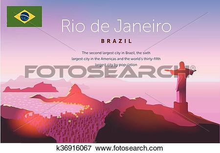 Clip Art of Rio de Janeiro skyline. Statue rises above the.