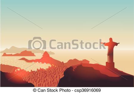 Clip Art Vector of Rio de Janeiro skyline. Statue rises above the.