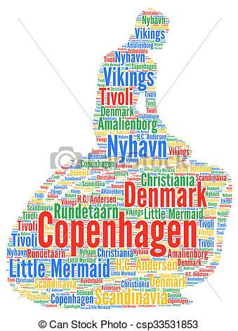 Stock Illustrations of Little mermaid in Copenhagen, Denmark, word.