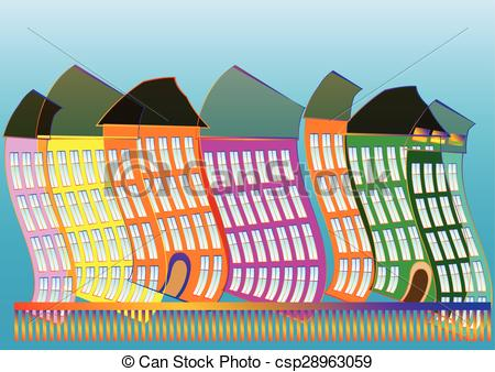 Clipart Vector of Copenhagen. abstract multicolor building on blue.