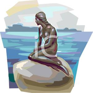 Free Clipart Image: The Statue of the Mermaid In Copenhagen.