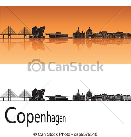 Vector of Copenhagen skyline in orange background in editable.
