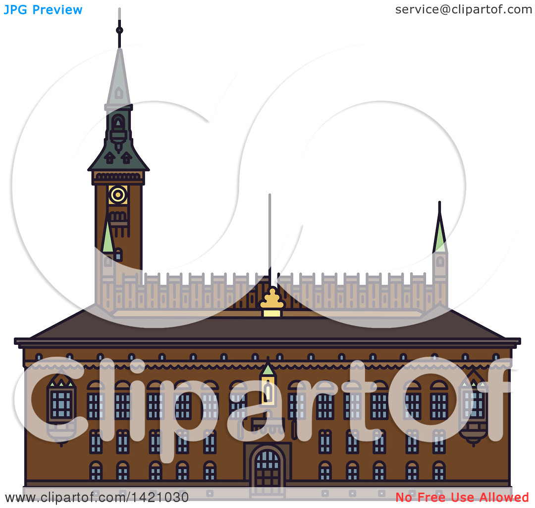 Clipart of a Denmark Landmark, Copenhagen City Hall.