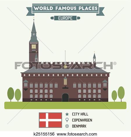 Clip Art of City Hall. Copenhagen, Denmark k25155156.