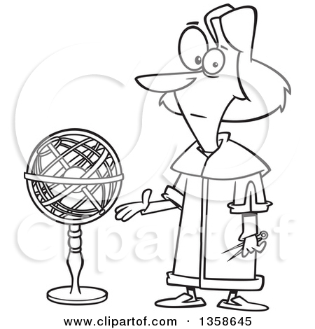 Lineart Clipart of a Cartoon Black and White Astronomer, Nicolaus.