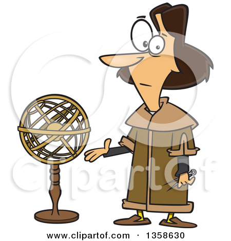 Clipart of a Cartoon Astronomer, Nicolaus Copernicus, Presenting a.