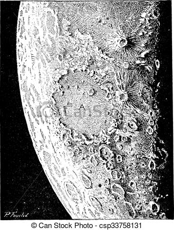 Vector Clip Art of Surface of the Moon, showing the Copernicus.