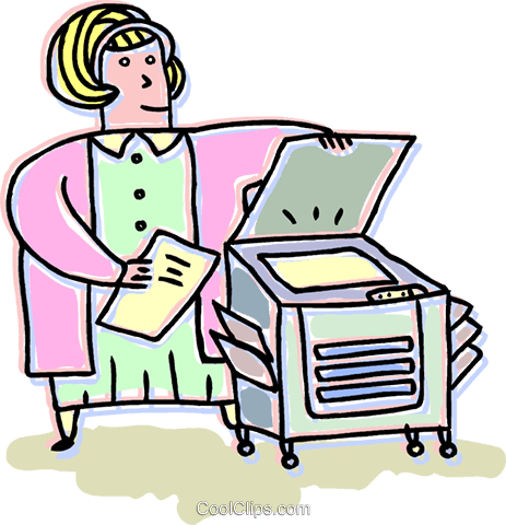 Businesswoman at the photocopier Royalty Free Vector Clip Art.