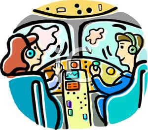 Pilot and Copilot In the Cockpit Clipart Picture.