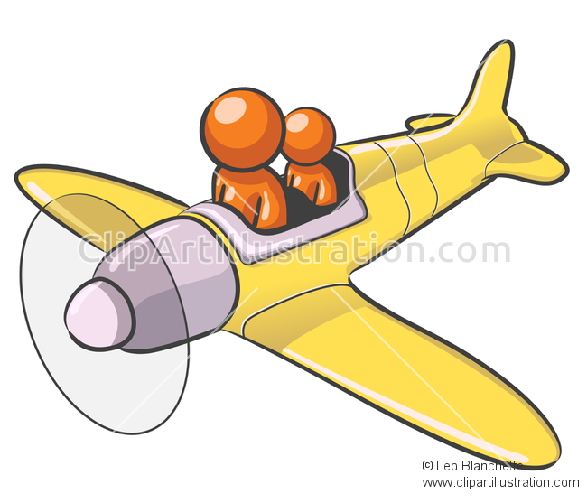 ClipArt Illustration of Pilot with Son Flying Airplane and.