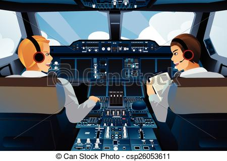 Vector Clip Art of Pilot and copilot inside the cockpit.