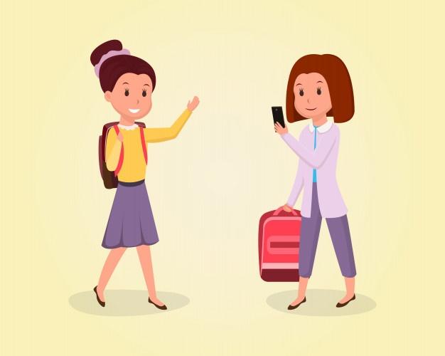 Écolière, aller, à, plat, illustration camarades de classe.