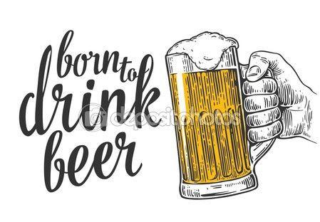 Masculino mão segurando um copo de cerveja — Ilustração de.
