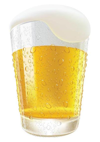 Copo de cerveja gelado derramando realista.