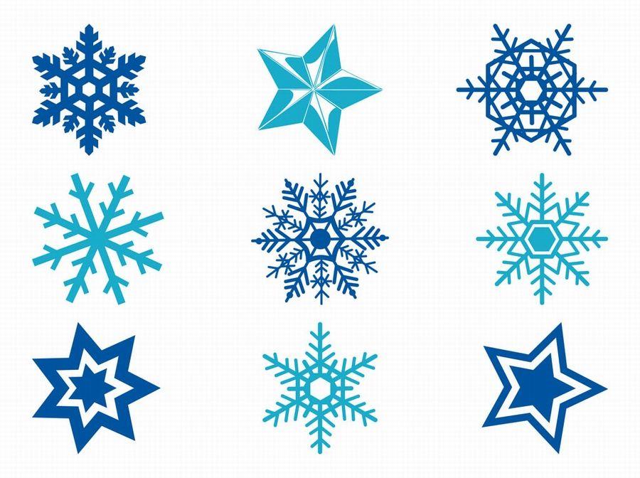 Free Vector. Estrellas y copos de nieve..