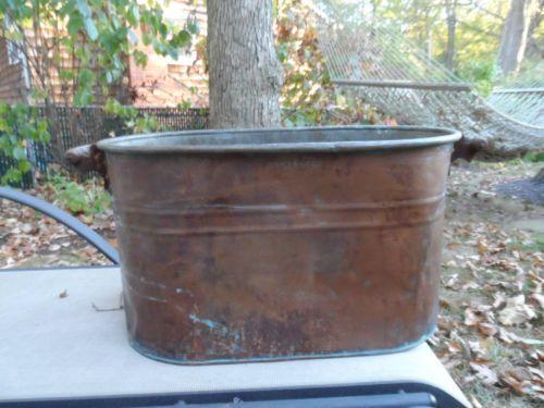 Vtg Antique Copper Tub Boiler Wash Kettle Wood Handles Fireplace.