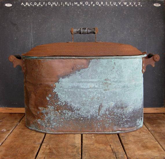 Antique Copper Boiler Cream City Copper Wash by RiverHouseDesigns.