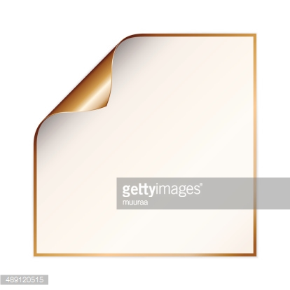 Paper With Curled Corner and Copper Color premium clipart.