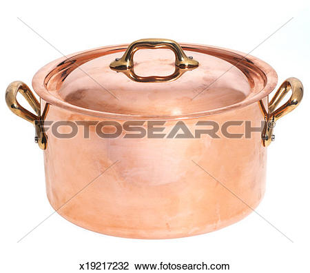 Stock Photo of Large copper colored pot with brass colored handles.
