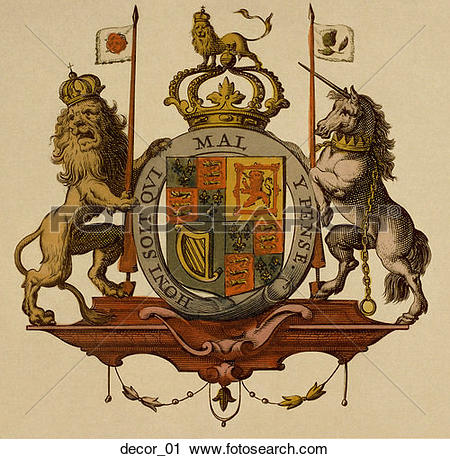 Clipart of Antique Map Heraldry Motif (hand.