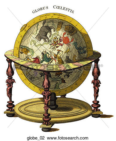 Clip Art of Antique Illustrated Globes (hand.