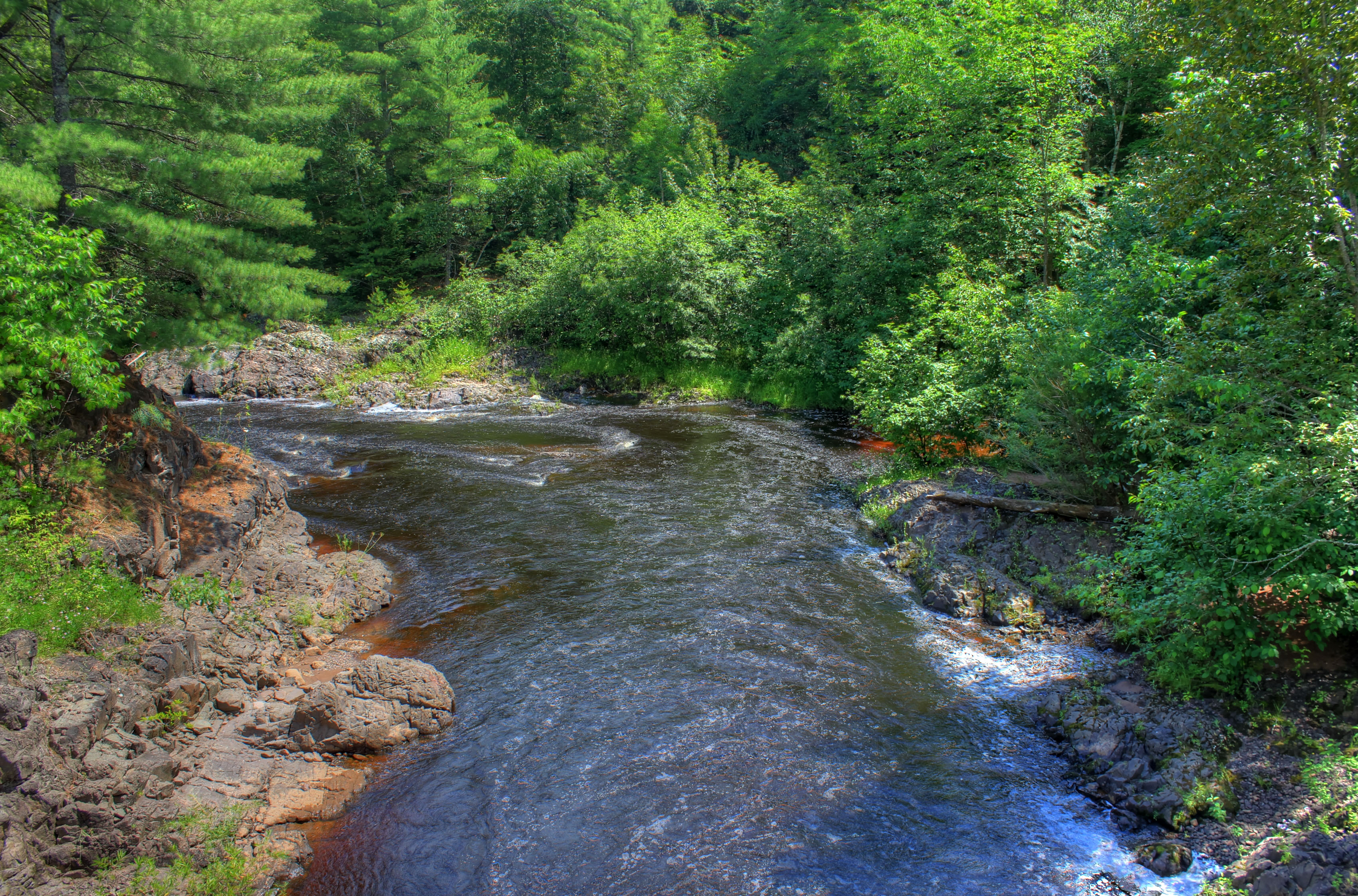 Downstream on the Bad river at Copper Falls State Park, Wisconsin.