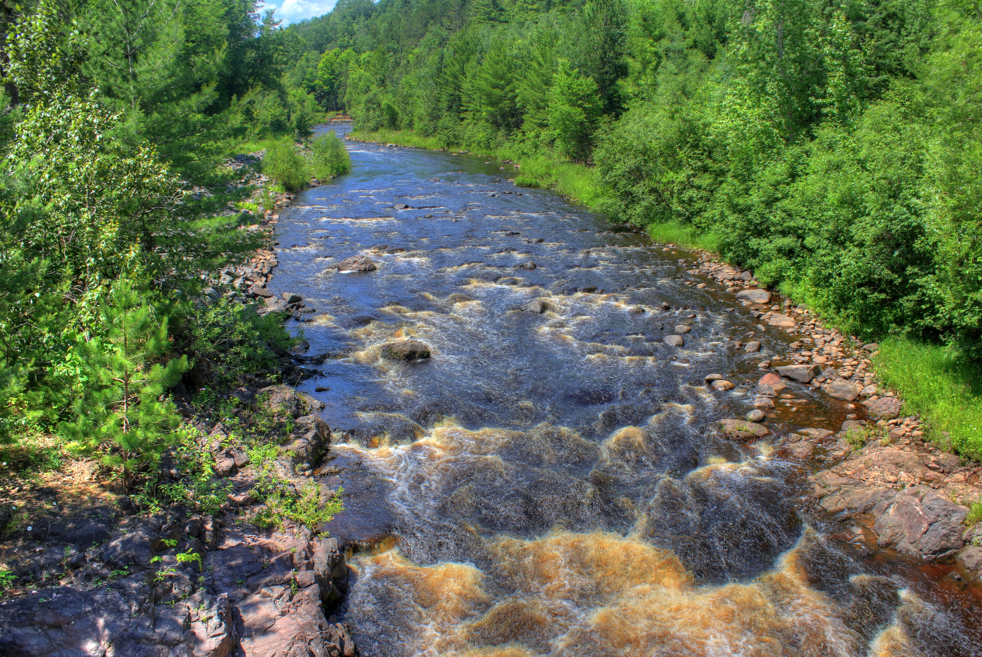 Rapids in the bad river at Copper Falls State Park, Wisconsin.