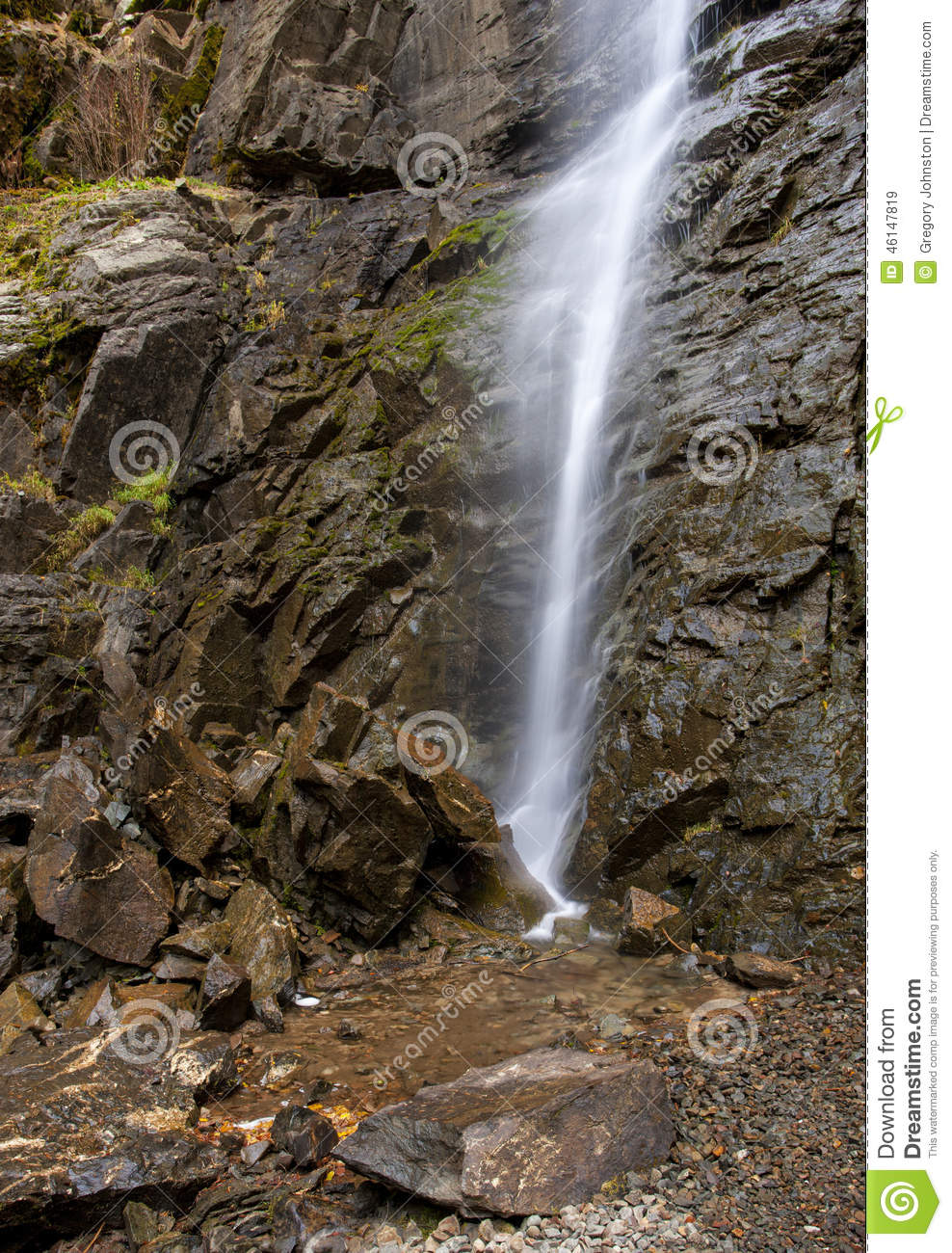 Cascading Copper Falls. Stock Photo.