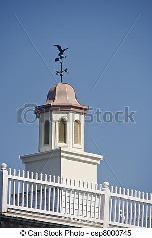 Stock Images of Copper Roof on Cupola with Weather Vane.