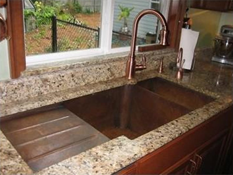 Roeblin Bridge Kitchen Faucet With Side Spray Antique Copper Front.