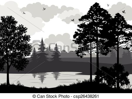 Clip Art Vector of Landscape, Trees, River and Birds Silhouette.
