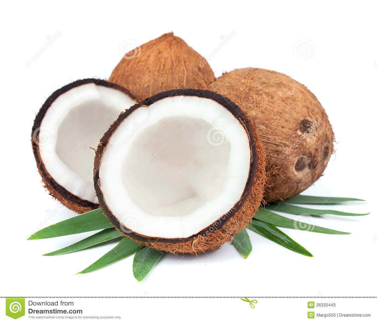 Coconut With Leaves Stock Photos.