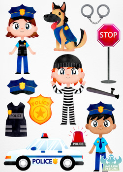 Police Cops and Robbers Watercolor Clipart.