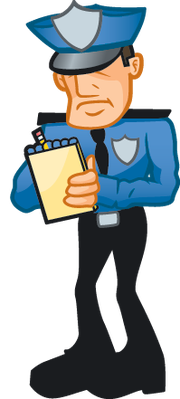 Police writing ticket clipart.
