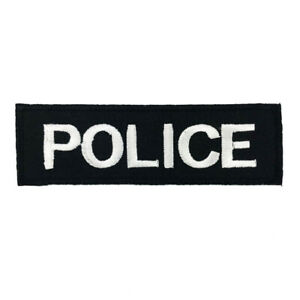 Details about White Police Cops Sew Iron on Patch Appliques Emblem Badge  Craft Cool Logo A162.